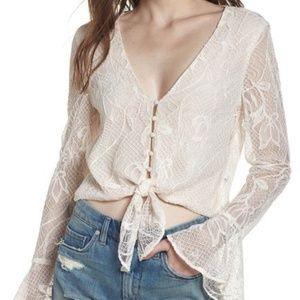 """WAYF Nordstrom """"Placenza"""" Corded Lace Crop Top S"""